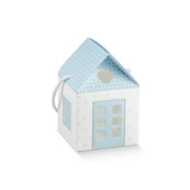 Kék házikó babaváró ajándékhoz nagy