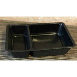 EOPP750-es 70-30 %-ban osztott ételszállító doboz fekete, mikrózható