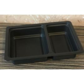 GB600-as 60-40%-ban osztott fóliázható ételszállító doboz fekete, mikrózható