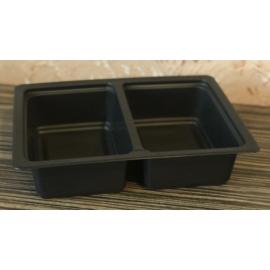 GB800-as 50-50%-ban osztott fóliázható ételszállító doboz fekete, mikrózható