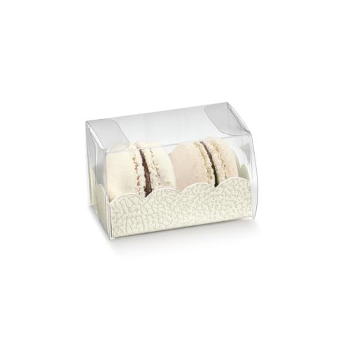 4 szemes fehér macaron tartó