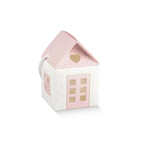 Rózsaszín házikó babaváró ajándékhoz nagy
