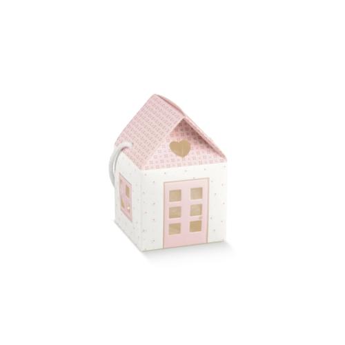 Kis rózsaszín házikó babaváró ajándékhoz