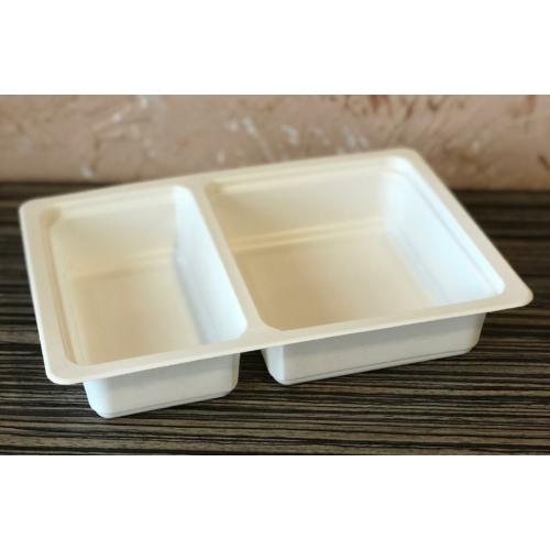 GB600-as 60-40%-ban osztott fóliázható ételszállító doboz, mikrózható