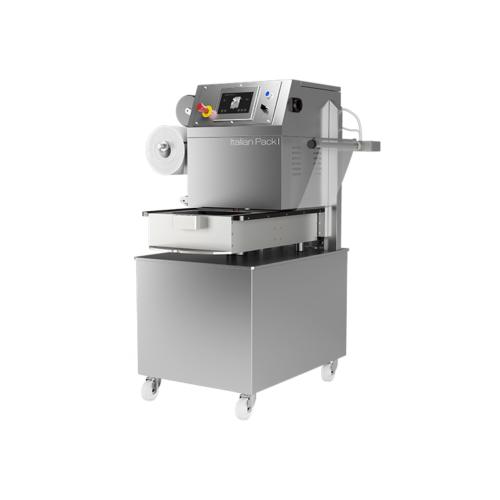 Olympus vákuumos, védőgázas, skines félautomata forgótálcás tálcalezáró csomagológép